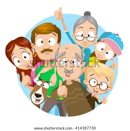 Vector illustration of big family. Family members showing thumbs up. Family portrait. Big happy family with their dog