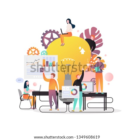 Vector illustration of big light bulb and office people team discussing new business project, analysing statistical graphs. New ideas, brainstorming, teamwork, effective team collaboration concepts.