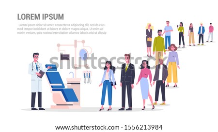 Vector illustration of big queue of people standing towards a dentist. Idea of dental care and oral hygiene. Stomatology and teeth treatment. Adults standing in the long crowd waiting for their turn.