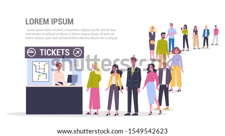 Vector illustration of big queue of people standing towards a ticket service to buy tickets for city public transport. Adults standing in the long crowd waiting for their turn.