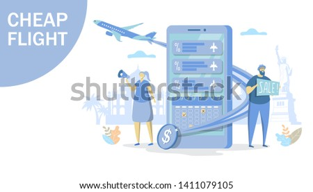 Vector illustration of big smartphone, plane, tiny people woman with megaphone, man with sale sign. Cheap flights business promotion, low cost flights, flight sales concept for web banner website page
