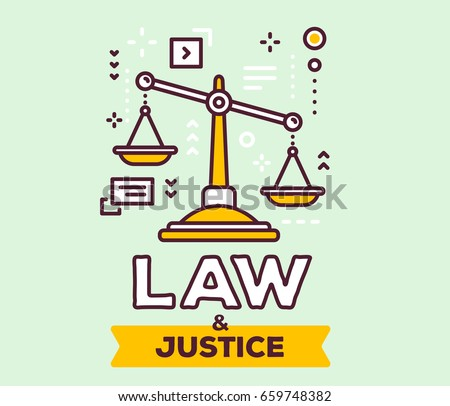 Vector illustration of big yellow  justice scales with icons. Law and justice concept on green background with title. Thin line art design for web, site, banner, poster, business presentation