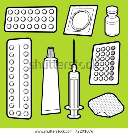Vector illustration of birth control medicine
