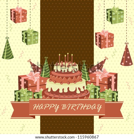 vector illustration of birthday cake with gift and toffee - stock vector