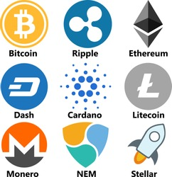 Vector Illustration Of Bitcoin BTC, Ripple XRP, Ethereum ETH, Dash, Cardano ADA, Litecoin LTC, Monero XMR, NEM, Stellar XLM Cryptocurrency Coin / Virtual Money Icon / Logotype Set /Collection In Color
