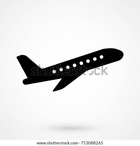 Vector illustration of black airplane silhouette. Isolated on white background. Logo icon plane.