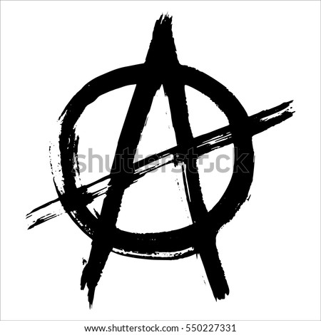 Vector illustration of black anarchy sign painted by dry brush. Hand drawn symbol. White background.Textured element. Black lines. Punk. Protest.