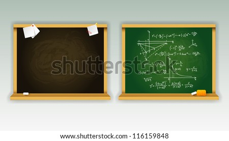 Vector illustration of Black and green school boards