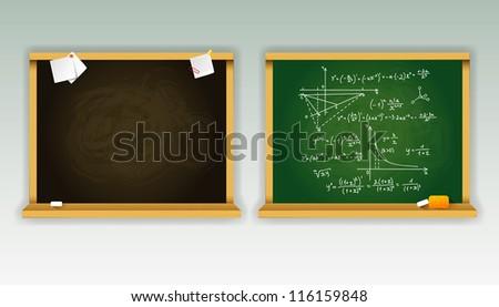 Vector illustration of Black and green school boards