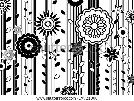 vector illustration of black and white funky flowers abstract pattern