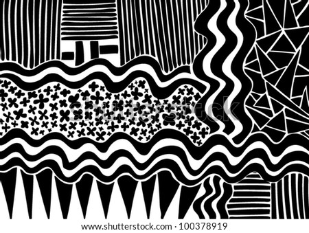 Vector illustration of black and white graphic pattern.