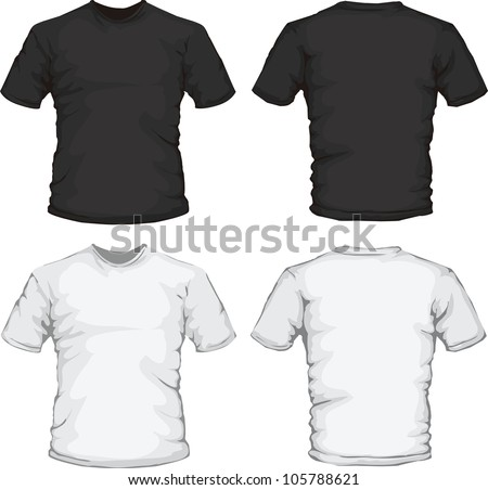 vector illustration of black and white male shirts template, front and back design, check out my portfolio for different t-shirt templates