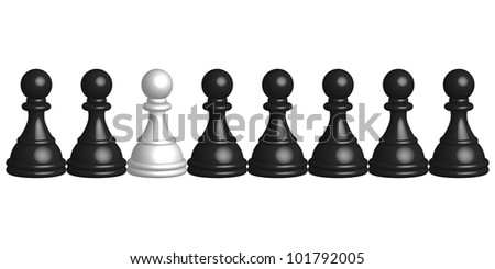 Vector illustration of black and white pawns