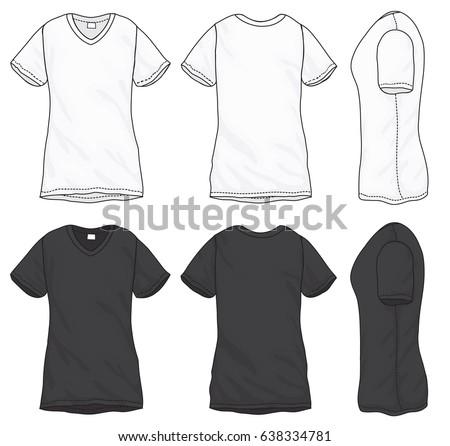 Woman V Neck Shirt Template - Download Free Vector Art, Stock ...