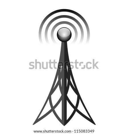 Vector illustration of black antenna