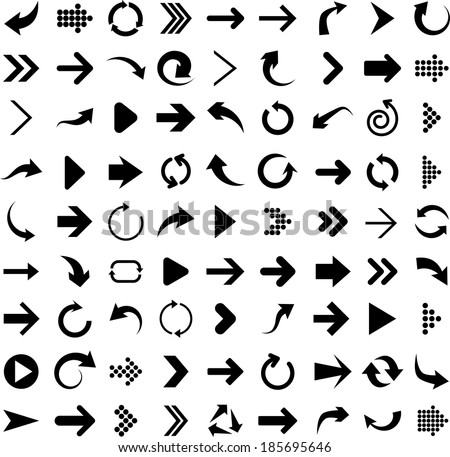 Vector illustration of black arrow icons.