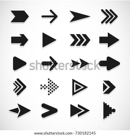Vector illustration of black arrow icons