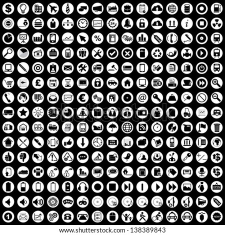 Vector illustration of black business & other various icons in white circles.