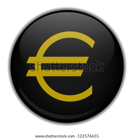 Vector illustration of black button with euro emblem, isolated on white background