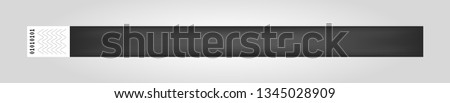 Vector illustration of black cheap empty bracelet or wristband. Sticky hand entrance event paper bracelet isolated. Template or mock up suitable for various uses of identification. Foto stock ©