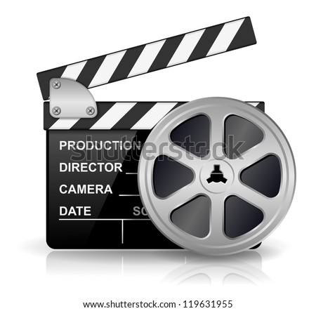 Vector illustration of black clapper board for film, movie and cinema production isolated on white background with reflection effect