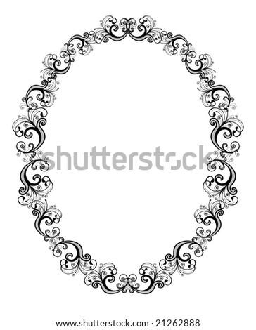 Vector illustration of black floral frame over white background