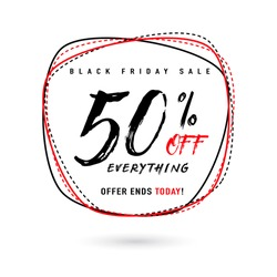 Vector illustration of Black Friday Sale with Discount 50. Round shape background with typography sign. Stylish Black Friday template for poster, banner or flyer web or print design