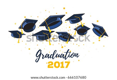 Vector illustration of black graduate caps and yellow confetti on a white background. Congratulation graduates 2017 class of graduations. Caps thrown up. Design of greeting, banner, invitation card