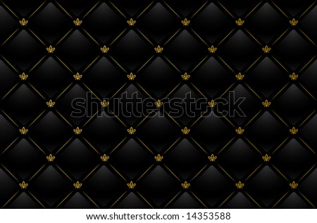 Vector illustration of black leather background with golden pattern