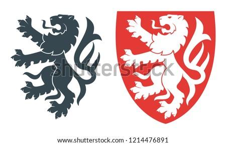 Vector illustration of black lion for heraldry or tattoo. Vintage design heraldic symbols and elements Stockfoto ©