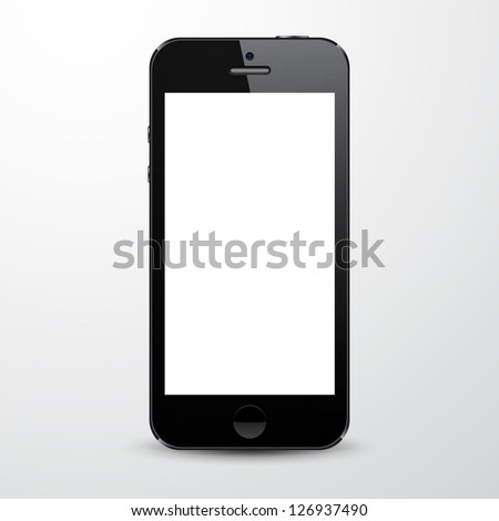 Vector illustration of black modern realistic smartphone with empty white screen. Eps10.