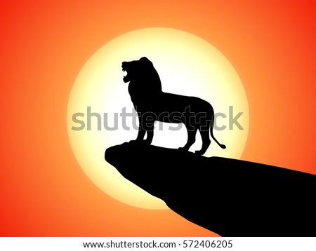 Vector illustration of black silhouette of a snarling lion on a rock. Against the background of the sunset. Lion side view profile.
