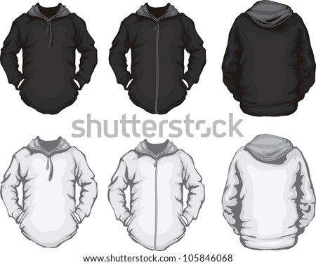 Vector Illustration Of Black White Mens Hoodie Sweatshirt Template Front And Back Design Check Clothes Isolated