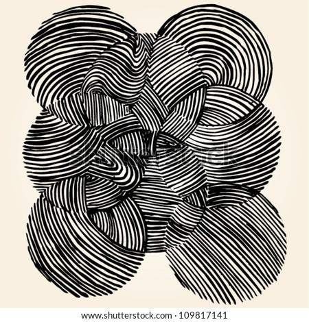 Vector illustration of black & white ornamental circle drawing