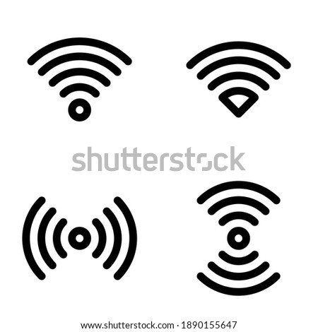 Vector Illustration of black Wifi Icon. icon set wifi hotspot