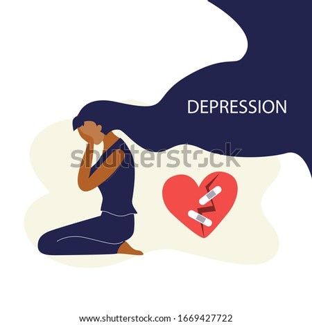 Vector illustration of black woman with long dark hairs sits on the floor and crying around broken heart. Depression, harrassment, abuse or bullying concept.