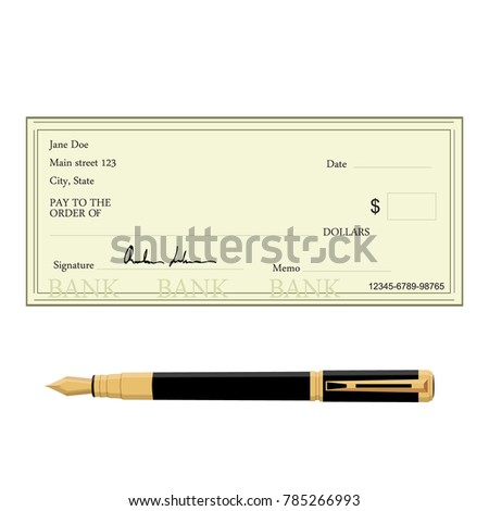 Vector illustration of blank bank check with golden pen. Bank cheque icon