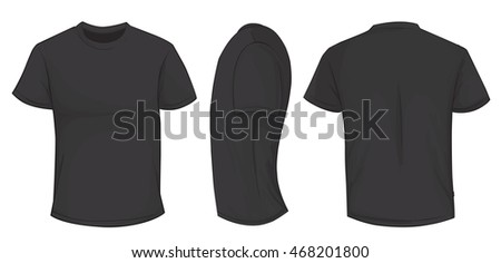 Vector illustration of blank black men t-shirt template, front, side and back design isolated on white