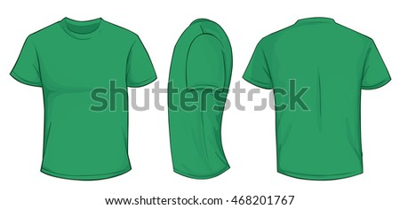 Vector illustration of blank green men t-shirt template, front, side and back design isolated on white