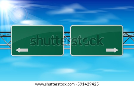 Vector illustration of Blank green traffic road sign on sky background