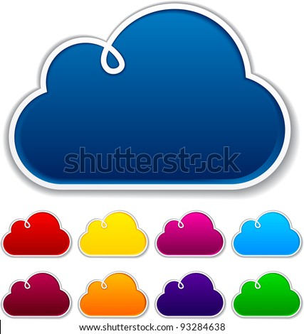 Vector illustration of blank notice clouds shapes for any text.