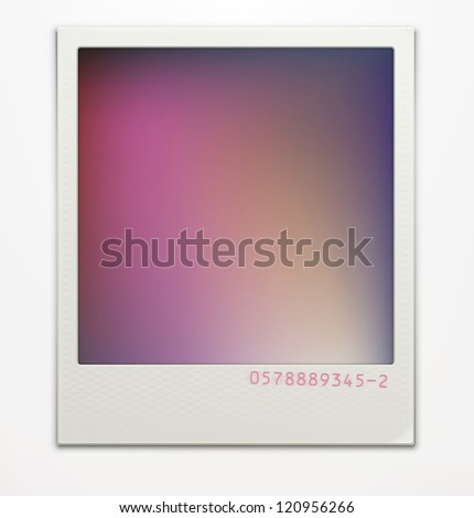 Vector illustration of blank retro photo frame over soft background with color correction layer for vintage faded look of your photos. Easy to use.