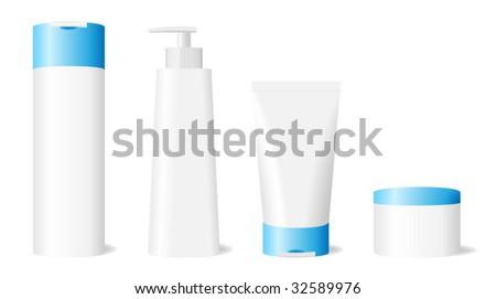 Vector illustration of blank skin care set isolated on white background.