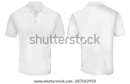 Vector illustration of blank white polo t-shirt template,  front and back design isolated on white