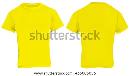 Vector illustration of blank yellow men t-shirt template, front and back design isolated on white - Shutterstock ID 465005036