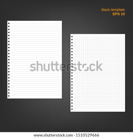 Vector illustration of 2 block note papers. Lined and squared pages with shadows on grey background. Empty white blanks can be used as a mock up template and backgrounds for your own projects. EPS 10.