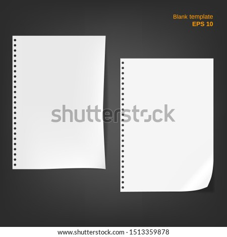 Vector illustration of 2 block note papers with fold edge. Empty pages on grey background. Different blanks can be used as a mock up template and backgrounds for your own projects. EPS 10 file.