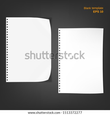 Vector illustration of 2 block note papers with fold edges. Empty pages on grey background. Different blanks can be used as a mock up template and backgrounds for your own projects. EPS10 file.