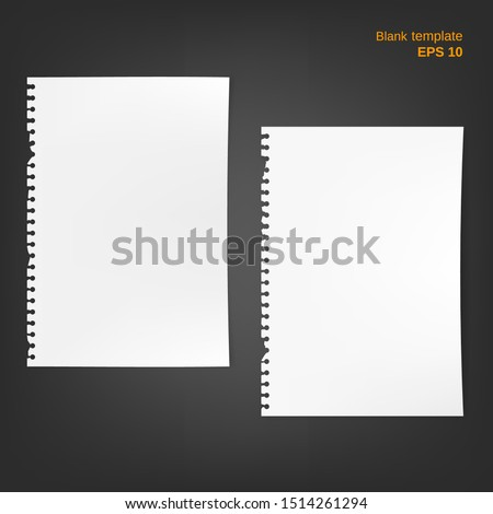 Vector illustration of 2 block note papers with torn edge and fold corners. Empty pages on grey background. Different blanks can be used as a mock up template and backgrounds for your own projects.