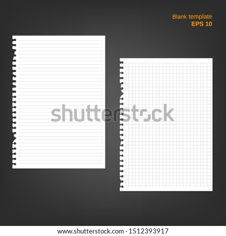 Vector illustration of 2 block note papers with torn edge. Lined and squared ripped pages on grey background. Empty white blanks can be used as a mock up template and backgrounds for your own projects